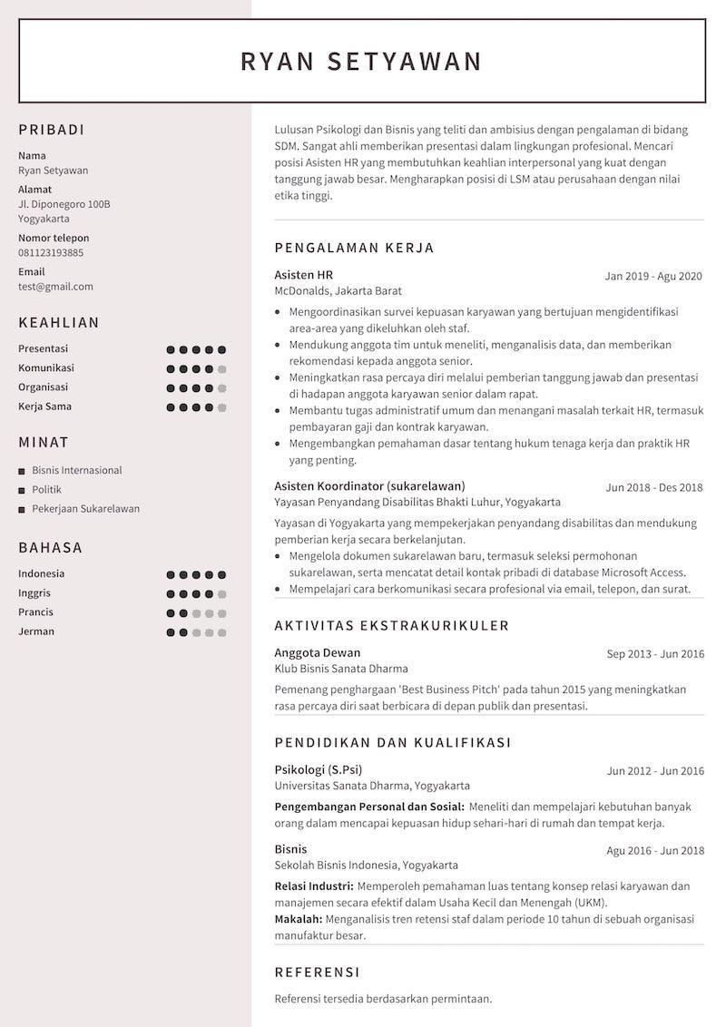 Contoh CV mahasiswa – lulusan S1 yang mencari posisi SDM